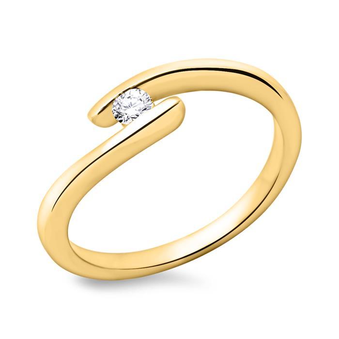 750er Gelbgold Verlobungsring mit Diamant 0,1ct.