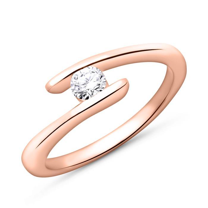 Verlobungsring 585er Rotgold mit Diamant 0,15 ct.
