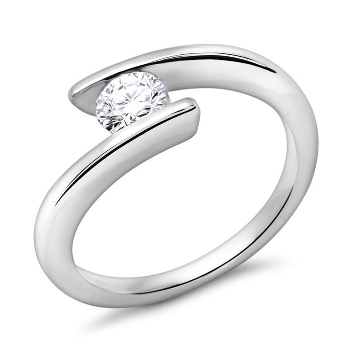 Verlobungsring 585er Weißgold Diamant 0,5 ct.