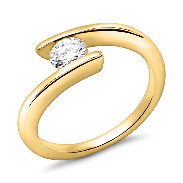 14K Gelbgold Verlobungsring mit Diamant 0,5 ct.