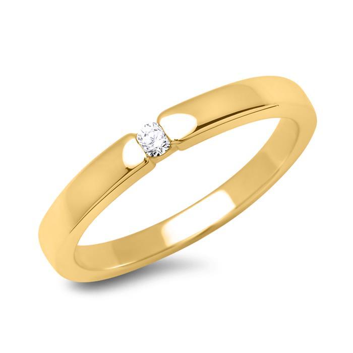 Verlobungsring 750 Gelbgold mit Brillant 0,05ct.