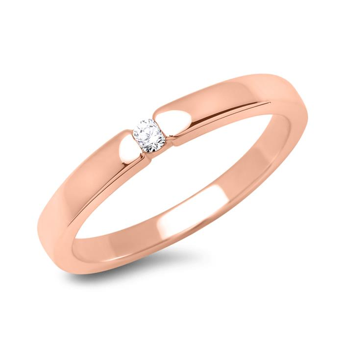 Verlobungsring 18K Rotgold mit Diamant 0,05 ct.