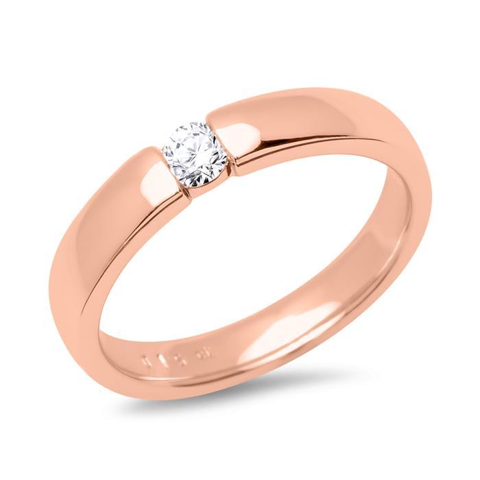 750er Rotgold Verlobungsring mit Diamant 0,1 ct.