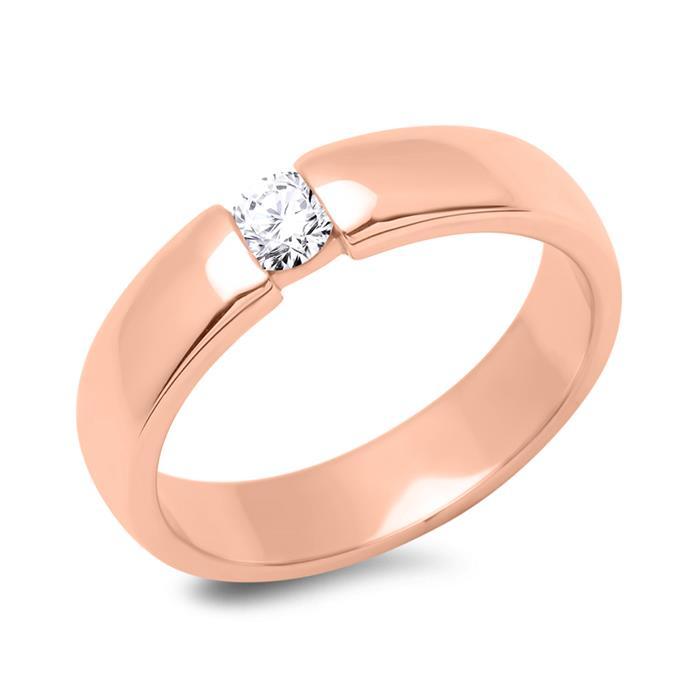 18K Rotgold Verlobungsring mit Diamant 0,25 ct.
