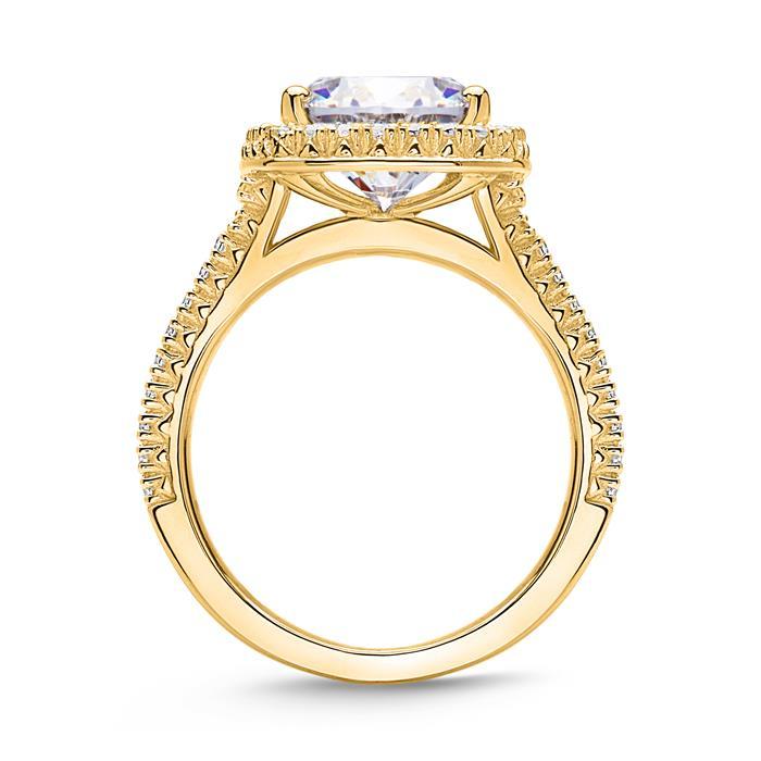 Zirkoniabesetzter Ring aus 925er Silber, vergoldet