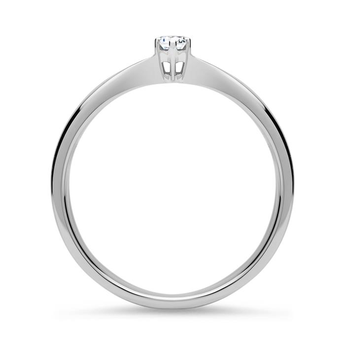 Verlobungsring 585er Weißgold 0,10 ct Diamant