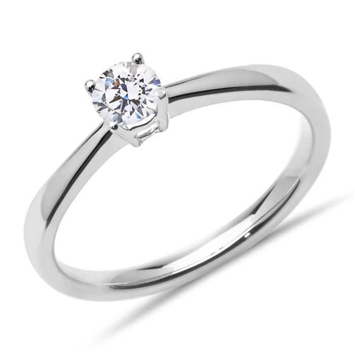 Verlobungsring aus 585er Weißgold mit Diamant, 0,25 ct.