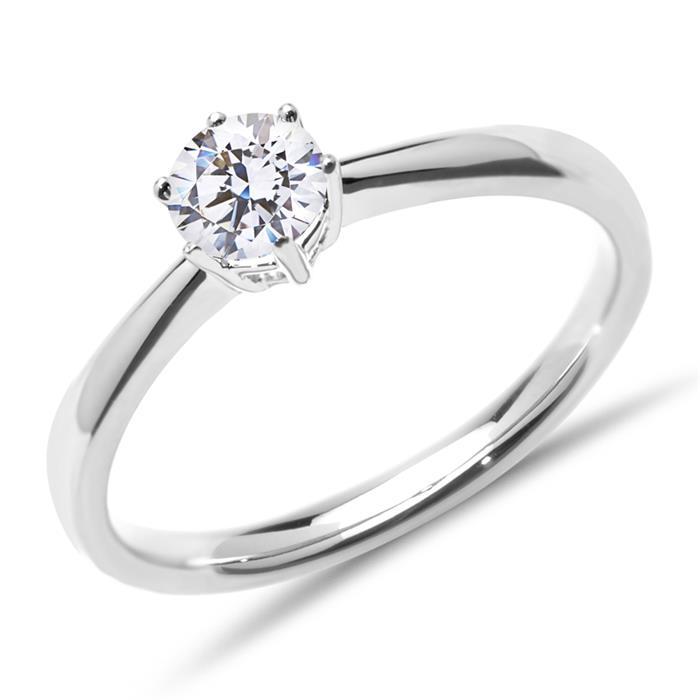 Unique Fairjewel Solitary Ring 14k White Gold Diamond Lab Grown Vr0145 Lsl