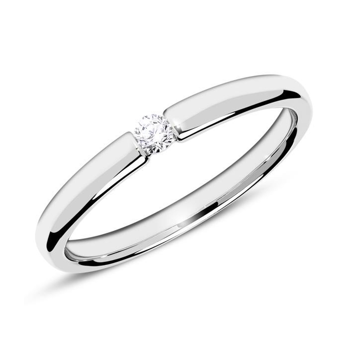 Verlobungsring aus 585er Weißgold mit Diamant 0,05 ct.