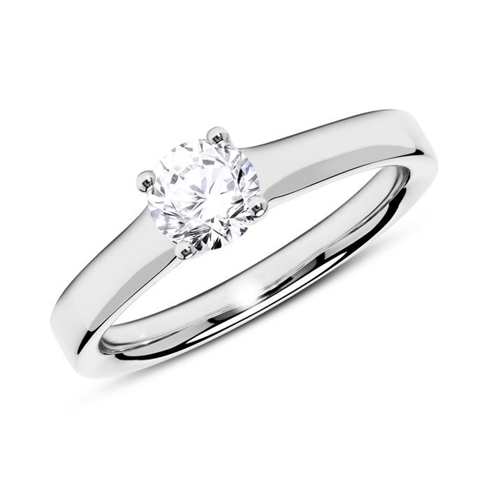 Ring aus 14K Weißgold mit Diamant 0,50 ct.