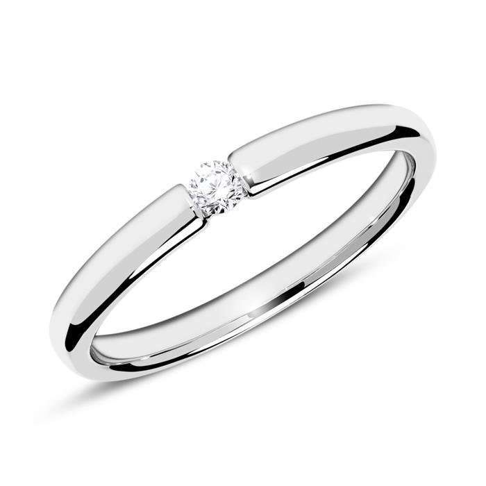 18K Weißgold Verlobungsring mit Diamant 0,05 ct.