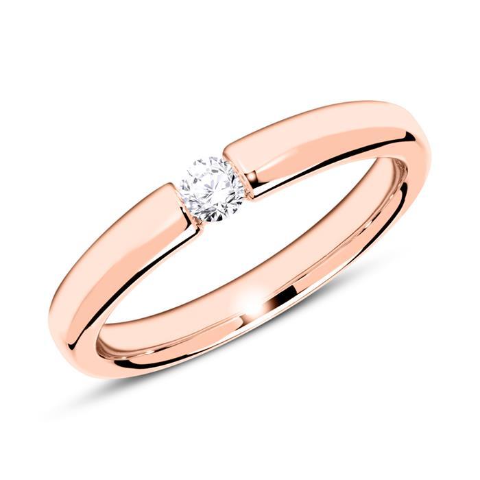 Ring aus 750er Roségold mit Diamant 0,10 ct.