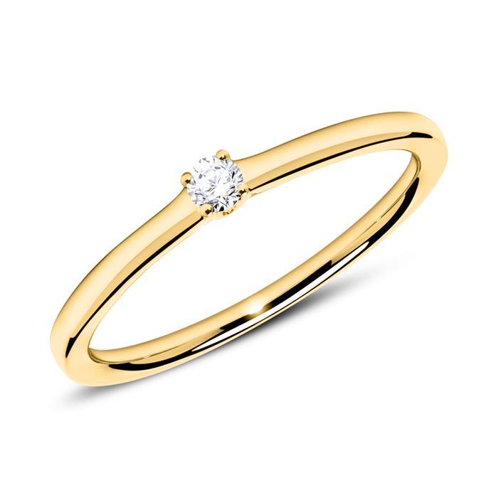 Verlobungsring aus 14k Gold mit Diamant 0,05 ct.