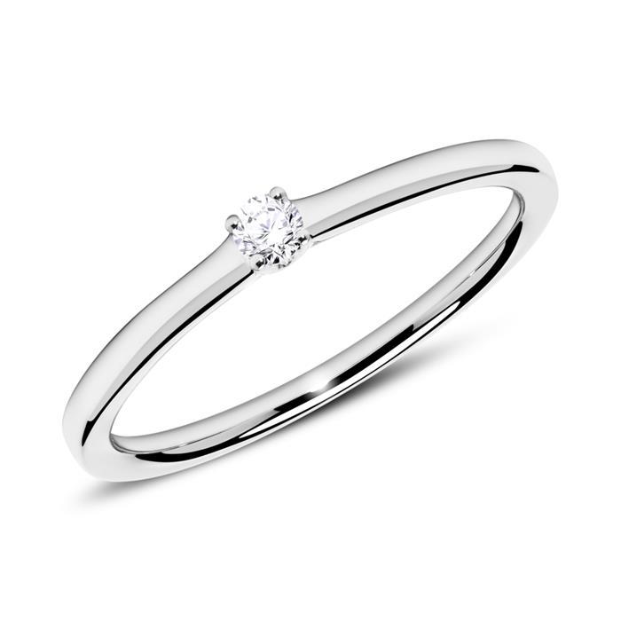 Verlobungsring 750er Weißgold mit Diamant 0,05 ct.