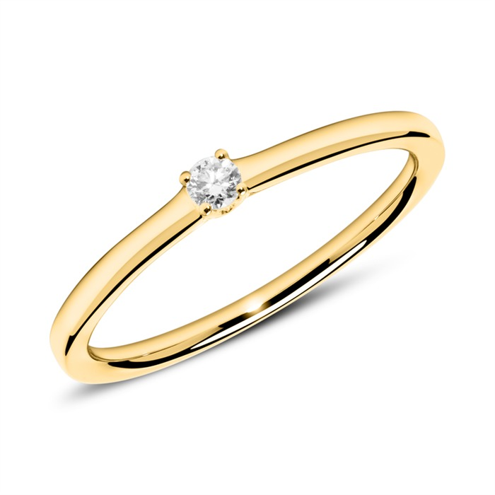 Ring aus 18K Gold mit Diamant 0,05 ct.