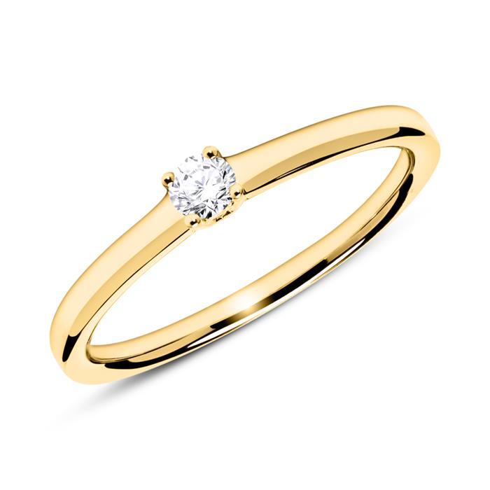 Solitärring aus 585er Gelbgold mit Diamant 0,10 ct.