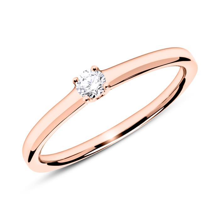 Verlobungsring aus 14K Roségold mit Diamant 0,10 ct.