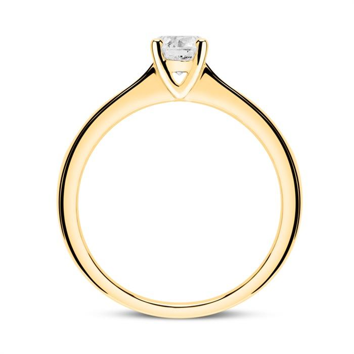 585er Goldring mit Diamant 0,50 ct.