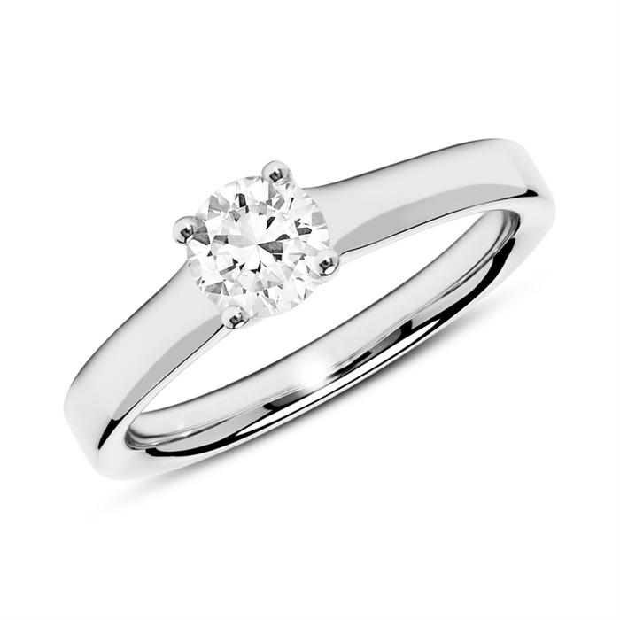 Ring aus 18K Weißgold mit Diamant 0,50 ct.