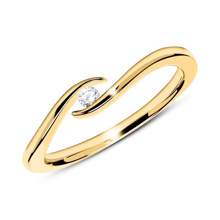 14K Goldring mit Diamant 0,05 ct.