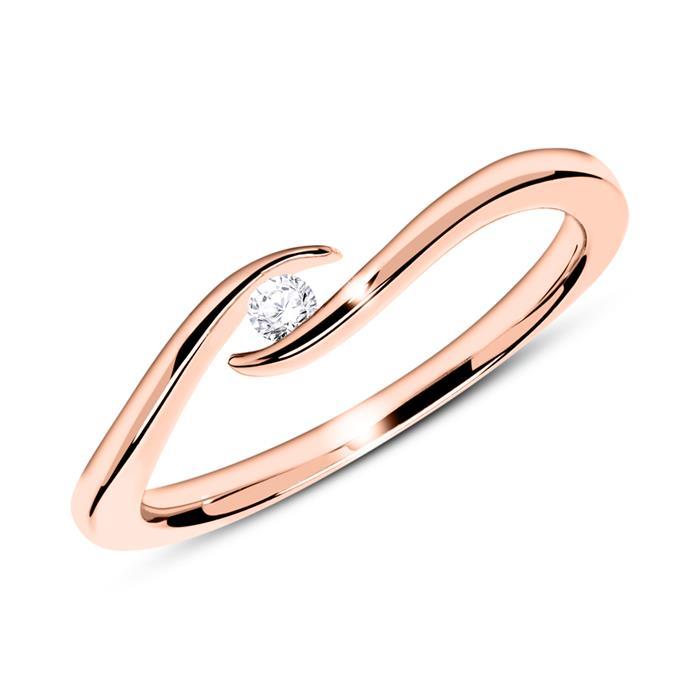 Verlobungsring aus 585er Roségold mit Diamant 0,05 ct.