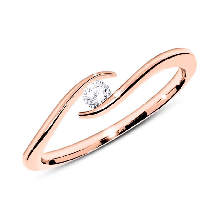 Ring aus 14K Roségold mit Diamant 0,10 ct.