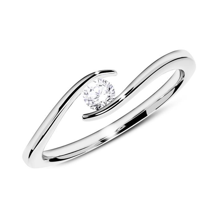 585er Weißgold Ring mit Diamant 0,15 ct.