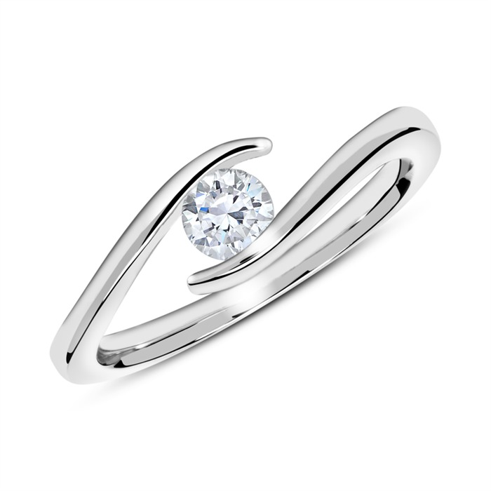 Unique 14k White Gold Engagement Ring With Diamond 0 25 Ct Vr0229sl