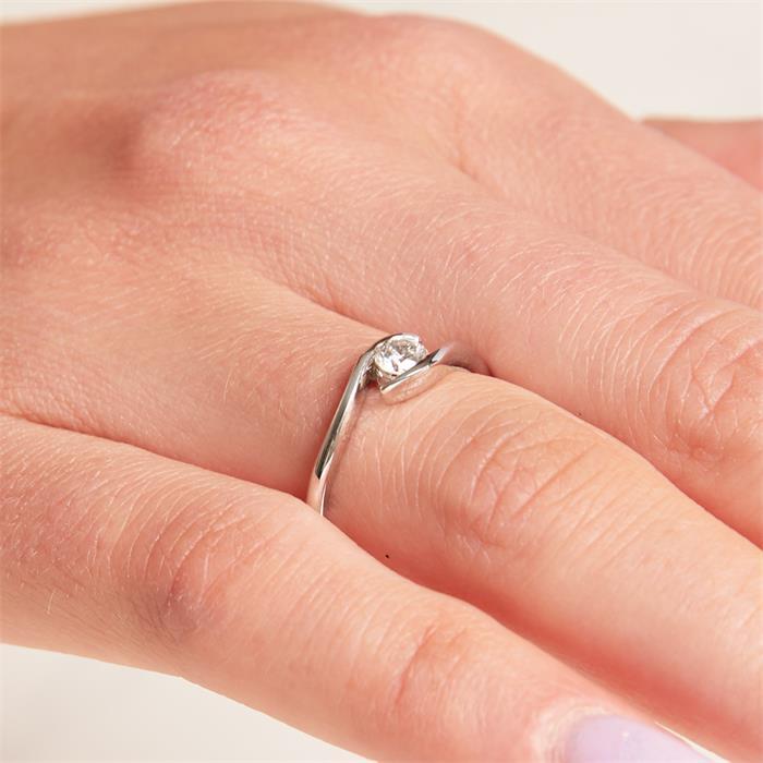 18K Weißgold Verlobungsring mit Diamant 0,25 ct.