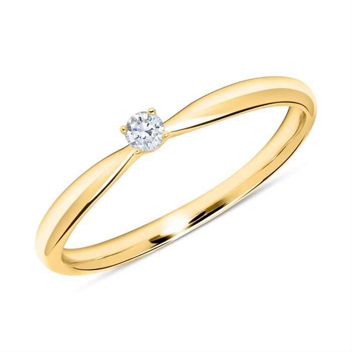 750er Goldring mit Diamant 0,05 ct.