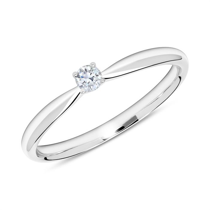 14K Weißgold Ring mit Diamant 0,10 ct.