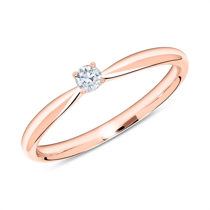 Ring aus 18K Roségold mit Diamant 0,10 ct.