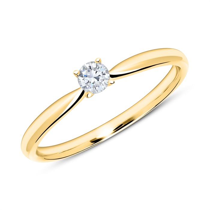Verlobungsring aus 14K Gold mit Diamant 0,15 ct.