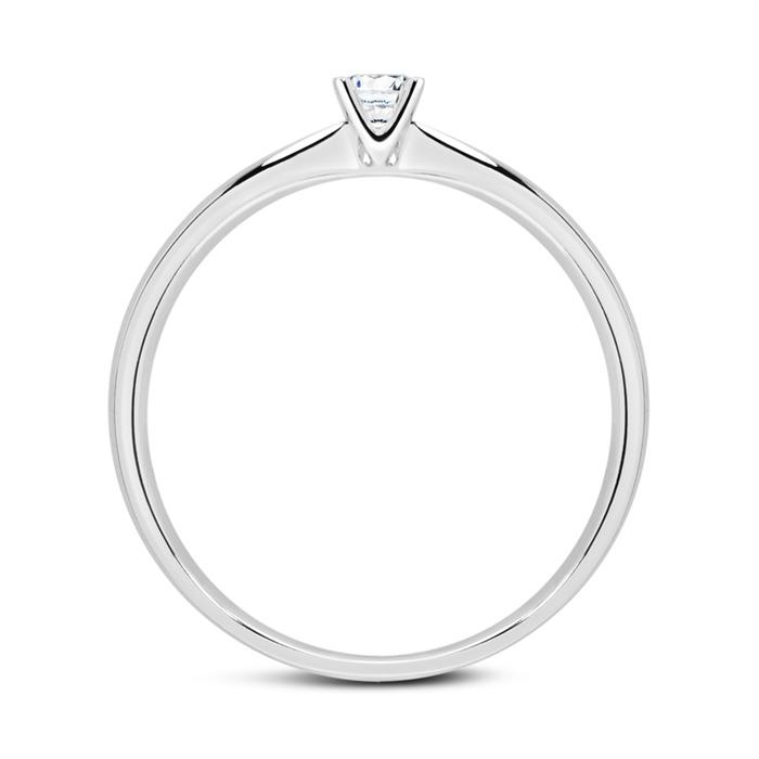 750er Weißgold Ring mit Diamant 0,15 ct.