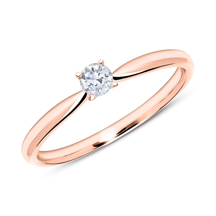 18K Roségold Verlobungsring mit Diamant 0,15 ct.