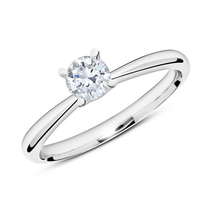 Verlobungsring aus 14K Weißgold mit Diamant 0,50 ct.