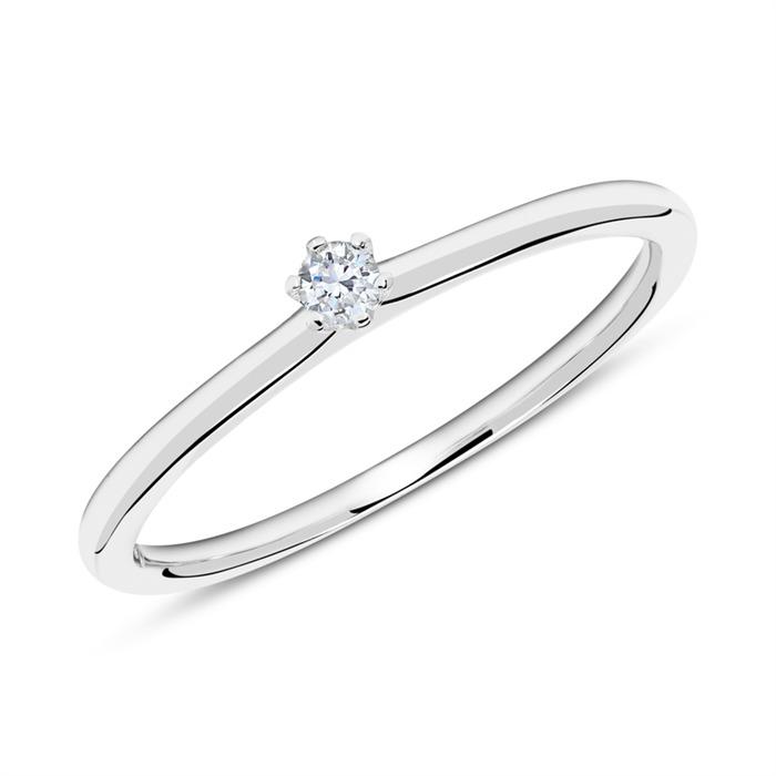 750er Weißgold Ring mit Diamant 0,05 ct.