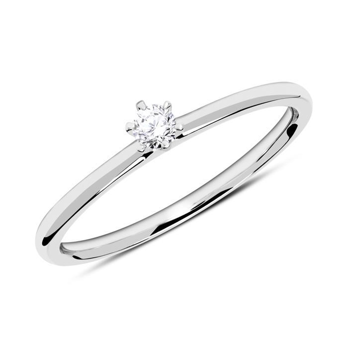 Verlobungsring aus 14K Weißgold mit Diamant 0,10 ct.