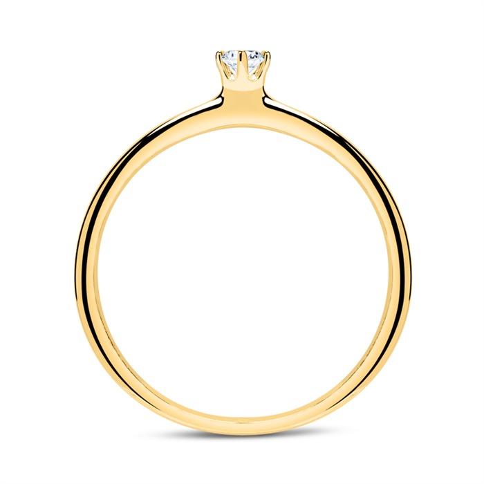 Ring aus 14K Gold mit Diamant 0,10 ct.