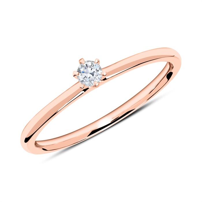 18K Roségold Ring mit Diamant 0,10 ct.