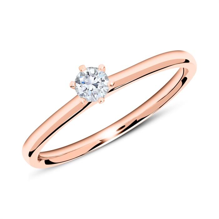 Ring aus 18K Roségold mit Diamant 0,15 ct.