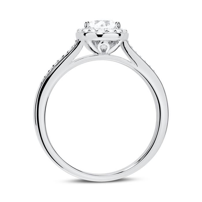 Zirkoniabesetzter Verlobungsring aus 925er Silber