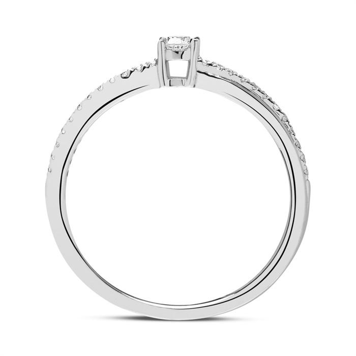 Diamantring aus 14-karätigem Weißgold