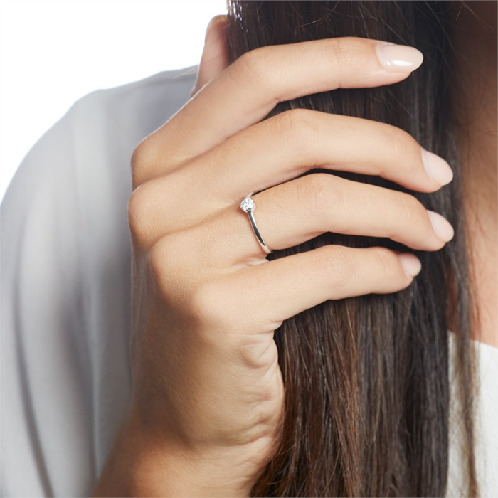 Gravierbarer 585er Weißgold Ring mit Diamanten