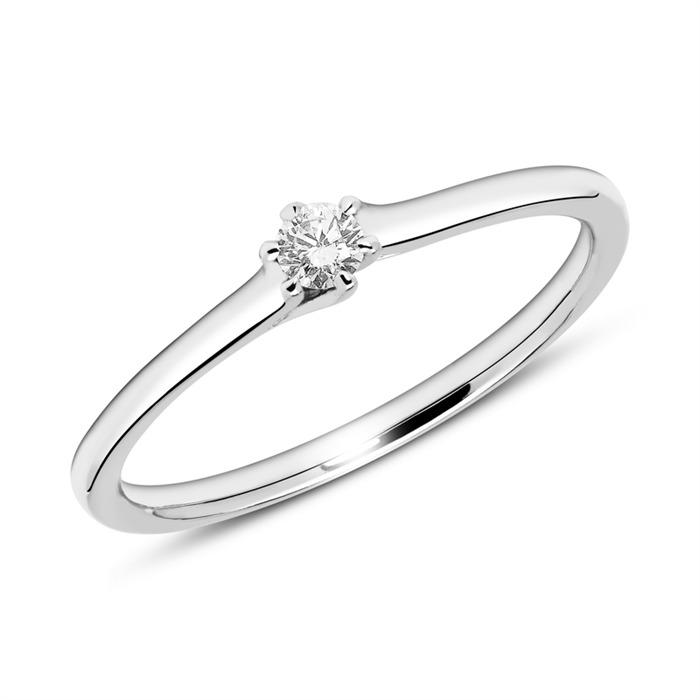Gravur Verlobungsring aus 14K Weißgold mit Diamant