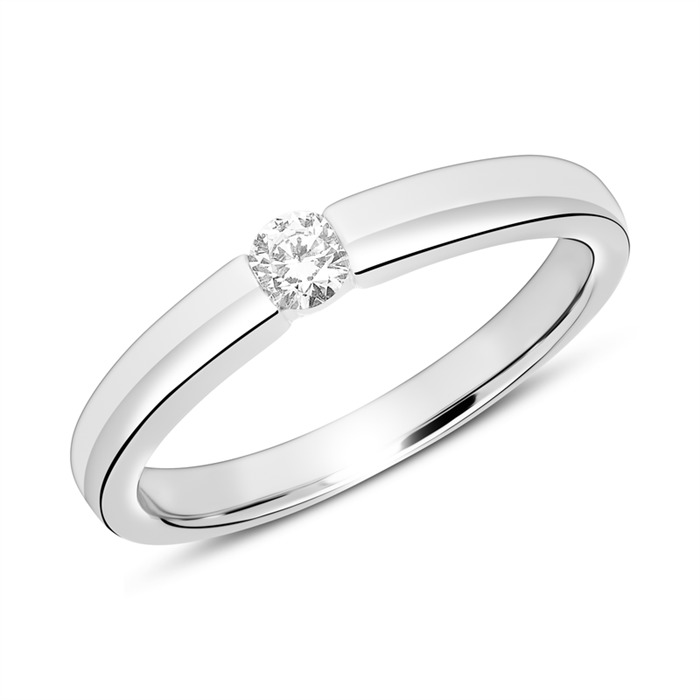 585er Weißgold Verlobungsring mit Diamant gravierbar