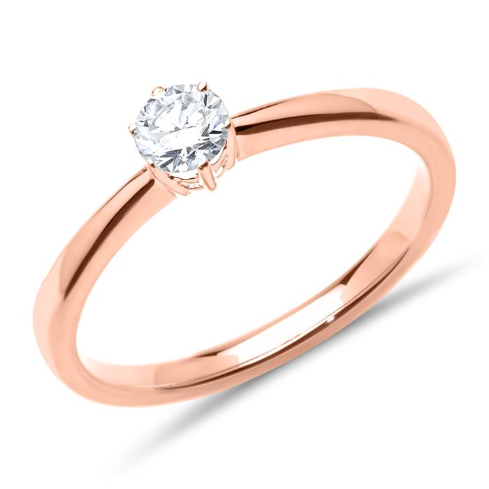 14ct Rose Gold Ring With Diamond 0,25 ct.