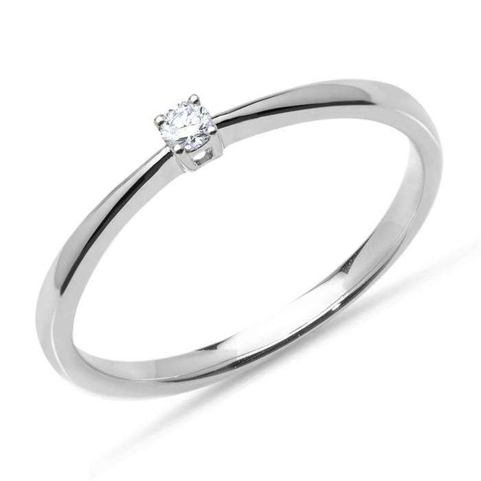 750er Weißgold Verlobungsring mit Diamant 0,05 ct.
