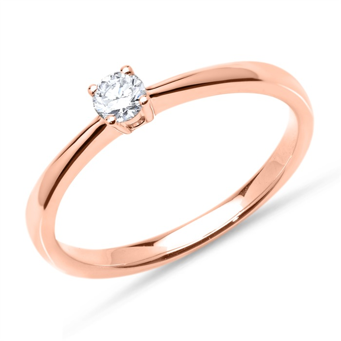 18K Roségold Ring mit Diamant 0,15 ct.