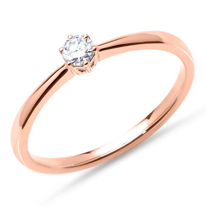750er Roségold Verlobungsring mit Diamant 0,15 ct.